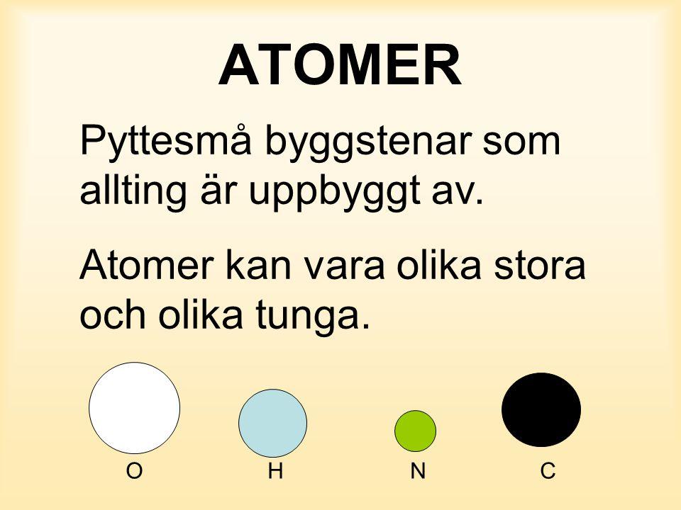 ATOMER Pyttesmå byggstenar som allting är uppbyggt av. Atomer kan vara olika stora och olika tunga. OH NC