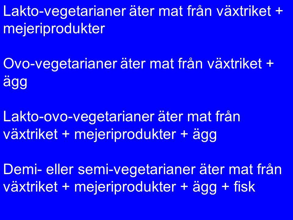 Lakto-vegetarianer äter mat från växtriket + mejeriprodukter Ovo-vegetarianer äter mat från växtriket + ägg Lakto-ovo-vegetarianer äter mat från växtr