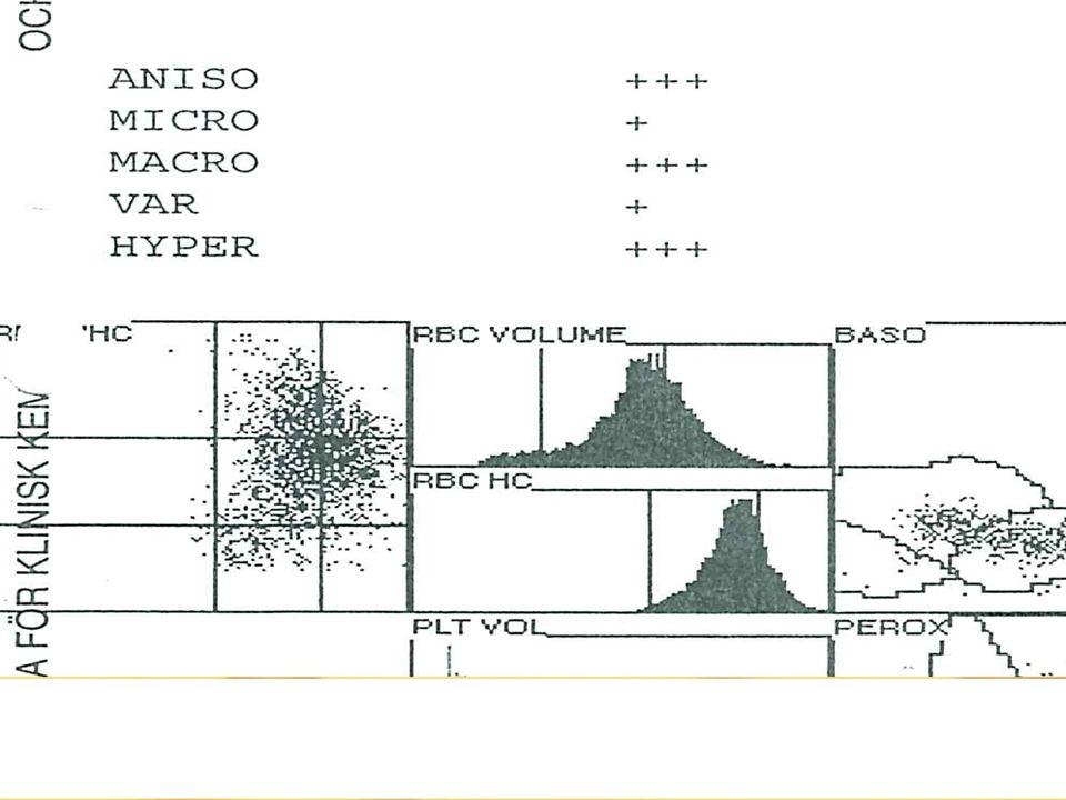 EPK 1.16 (4.1-5.4) EVF 13% (39-48) MCV 110 (82-102),MCH 41 (28-35), MCHC 370 (320-370) ALAT 1.98 (0.1-0.7) ASAT 3.19 (0.1-0.7) LD 215 (2.5-7.5)