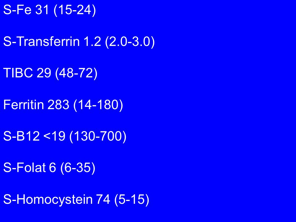 S-Fe 31 (15-24) S-Transferrin 1.2 (2.0-3.0) TIBC 29 (48-72) Ferritin 283 (14-180) S-B12 <19 (130-700) S-Folat 6 (6-35) S-Homocystein 74 (5-15)