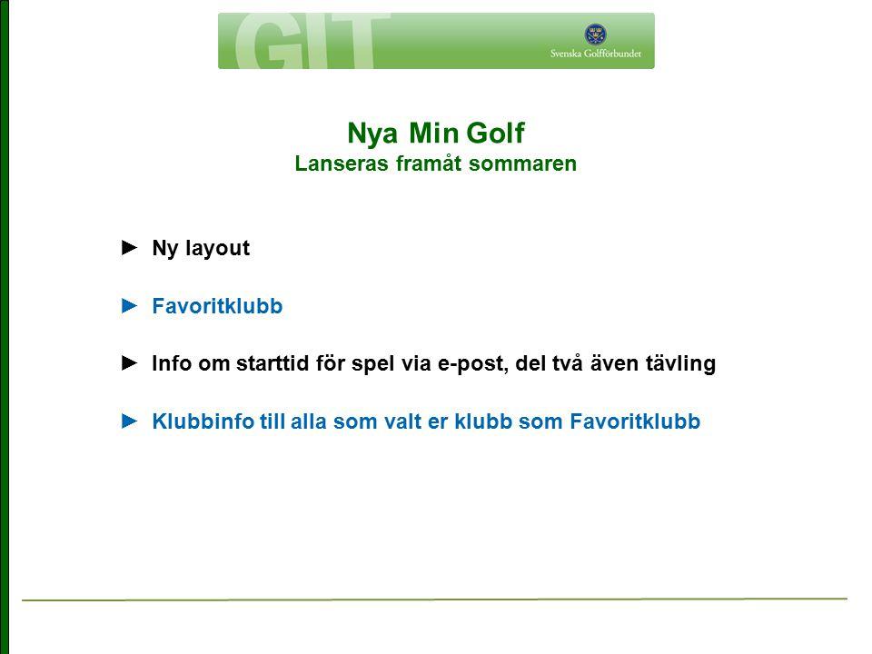 Nya Min Golf Lanseras framåt sommaren ► Ny layout ► Favoritklubb ► Info om starttid för spel via e-post, del två även tävling ► Klubbinfo till alla so
