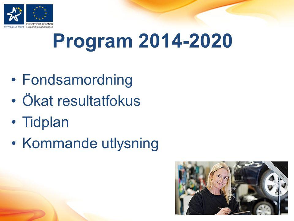 Program 2014-2020 Fondsamordning Ökat resultatfokus Tidplan Kommande utlysning