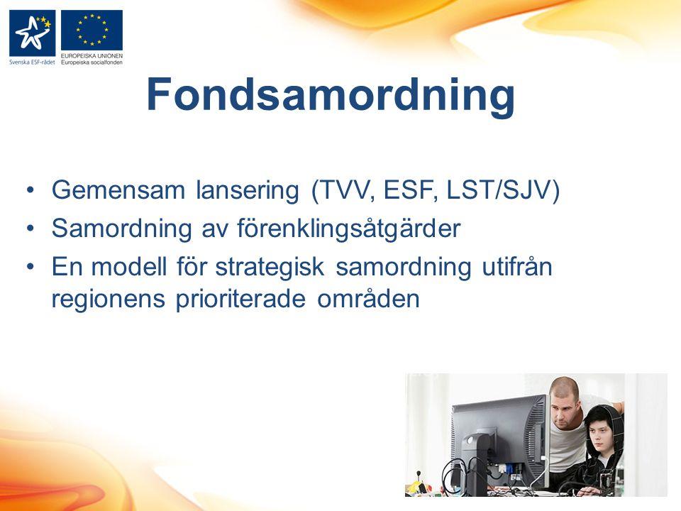 Fondsamordning Gemensam lansering (TVV, ESF, LST/SJV) Samordning av förenklingsåtgärder En modell för strategisk samordning utifrån regionens priorite