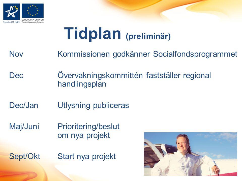 Tidplan (preliminär) Nov Kommissionen godkänner Socialfondsprogrammet Dec Övervakningskommittén fastställer regional handlingsplan Dec/JanUtlysning pu