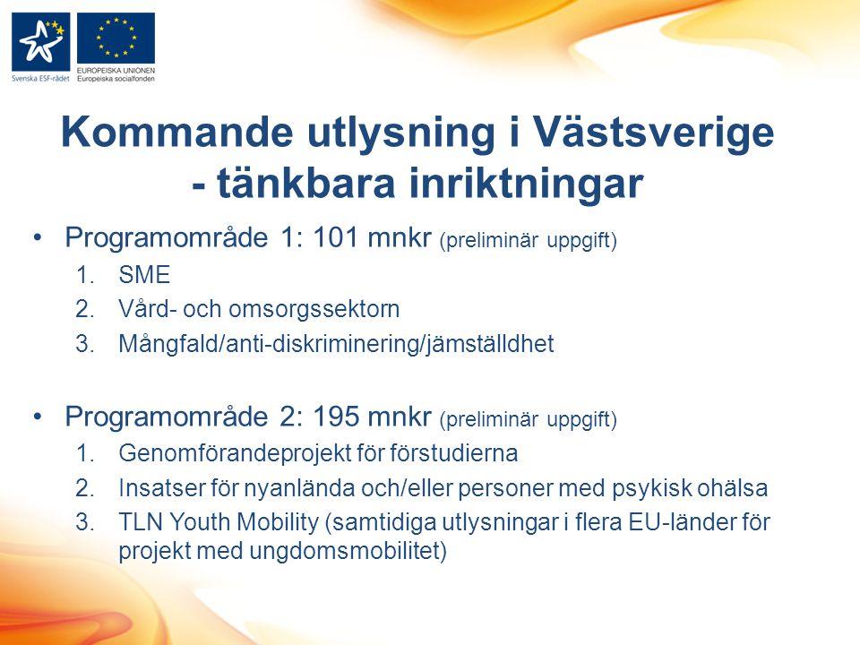 Kommande utlysning i Västsverige - tänkbara inriktningar Programområde 1: 101 mnkr (preliminär uppgift) 1.SME 2.Vård- och omsorgssektorn 3.Mångfald/an