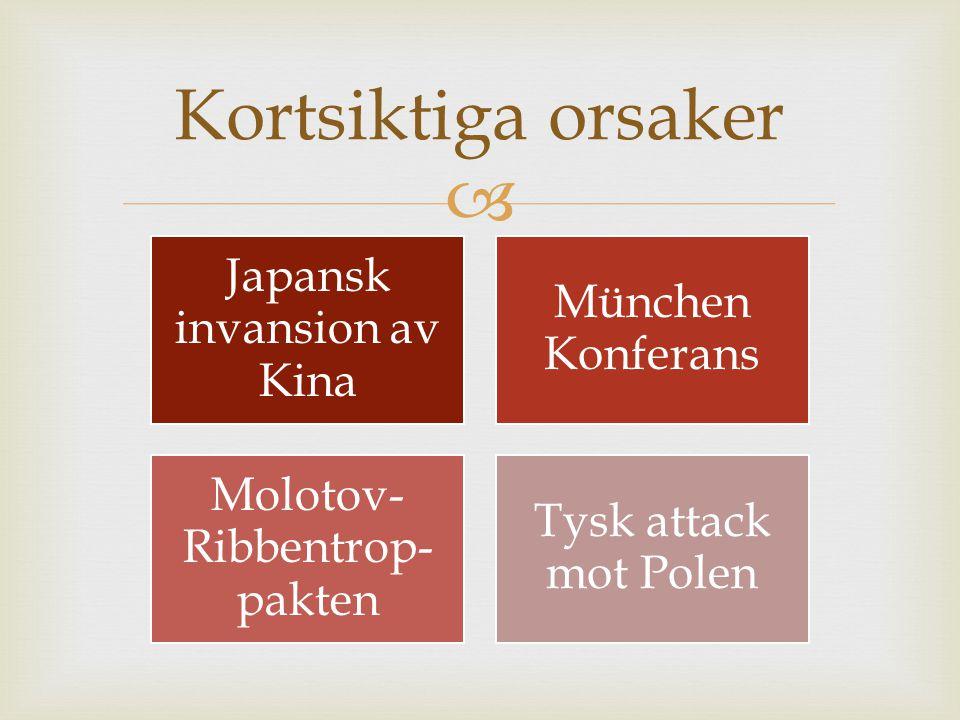  Japansk invansion av Kina München Konferans Molotov- Ribbentrop- pakten Tysk attack mot Polen Kortsiktiga orsaker