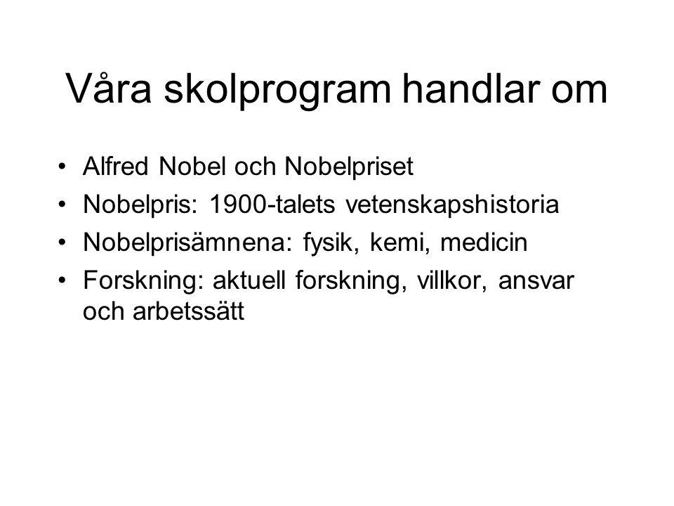 Våra skolprogram handlar om Alfred Nobel och Nobelpriset Nobelpris: 1900-talets vetenskapshistoria Nobelprisämnena: fysik, kemi, medicin Forskning: aktuell forskning, villkor, ansvar och arbetssätt