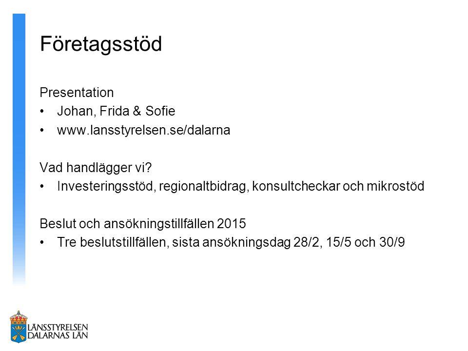 Företagsstöd Presentation Johan, Frida & Sofie www.lansstyrelsen.se/dalarna Vad handlägger vi.
