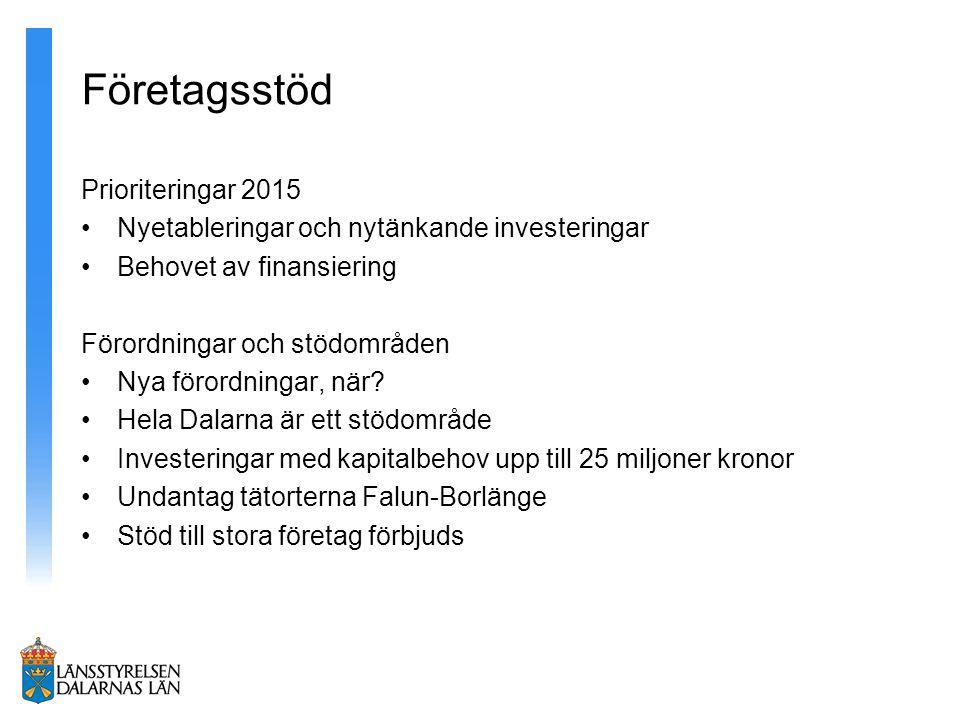 Företagsstöd Prioriteringar 2015 Nyetableringar och nytänkande investeringar Behovet av finansiering Förordningar och stödområden Nya förordningar, när.