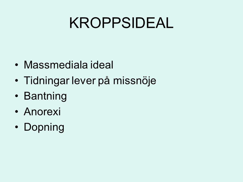 KROPPSIDEAL Massmediala ideal Tidningar lever på missnöje Bantning Anorexi Dopning