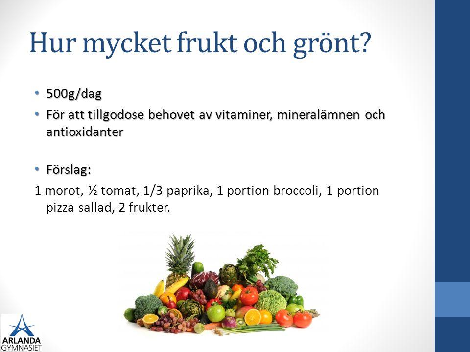 Hur mycket frukt och grönt? 500g/dag 500g/dag För att tillgodose behovet av vitaminer, mineralämnen och antioxidanter För att tillgodose behovet av vi