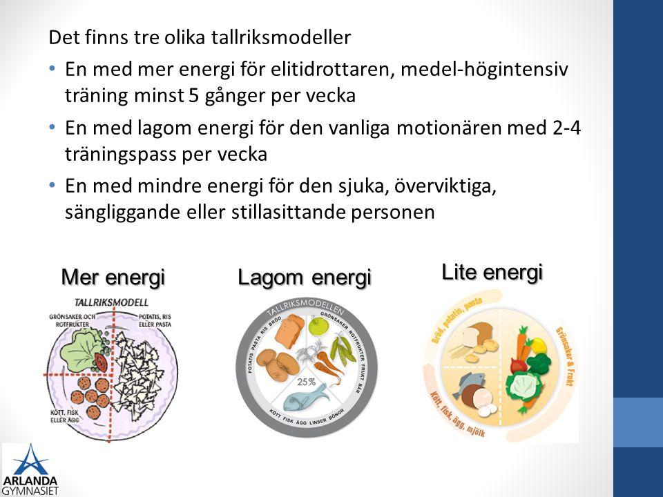 Det finns tre olika tallriksmodeller En med mer energi för elitidrottaren, medel-högintensiv träning minst 5 gånger per vecka En med lagom energi för den vanliga motionären med 2-4 träningspass per vecka En med mindre energi för den sjuka, överviktiga, sängliggande eller stillasittande personen Mer energi Lagom energi Lite energi