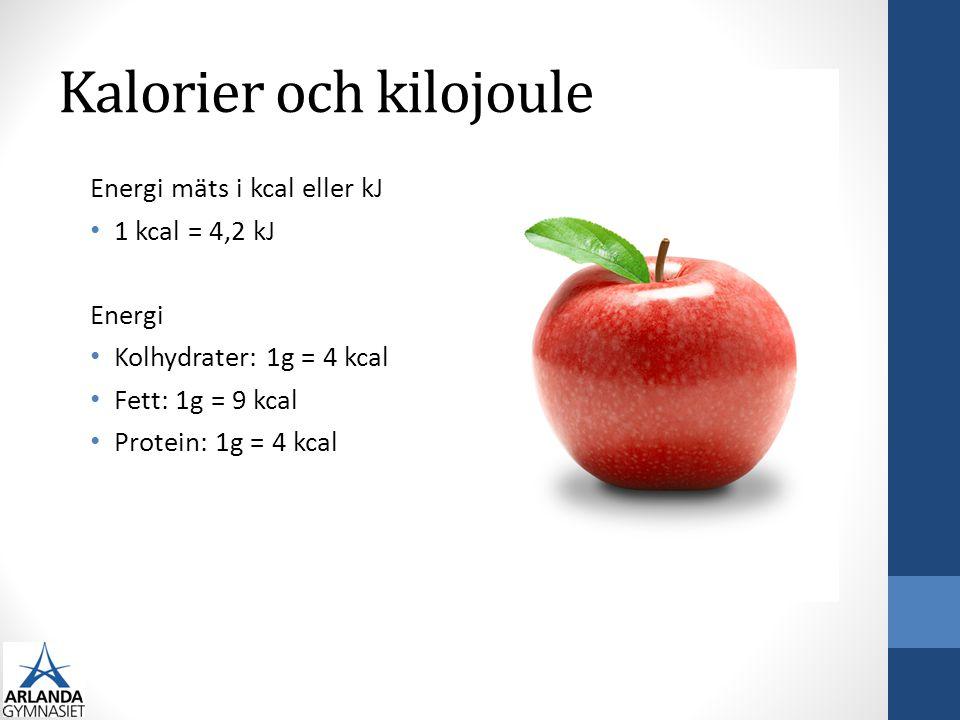 Kalorier och kilojoule Energi mäts i kcal eller kJ 1 kcal = 4,2 kJ Energi Kolhydrater: 1g = 4 kcal Fett: 1g = 9 kcal Protein: 1g = 4 kcal