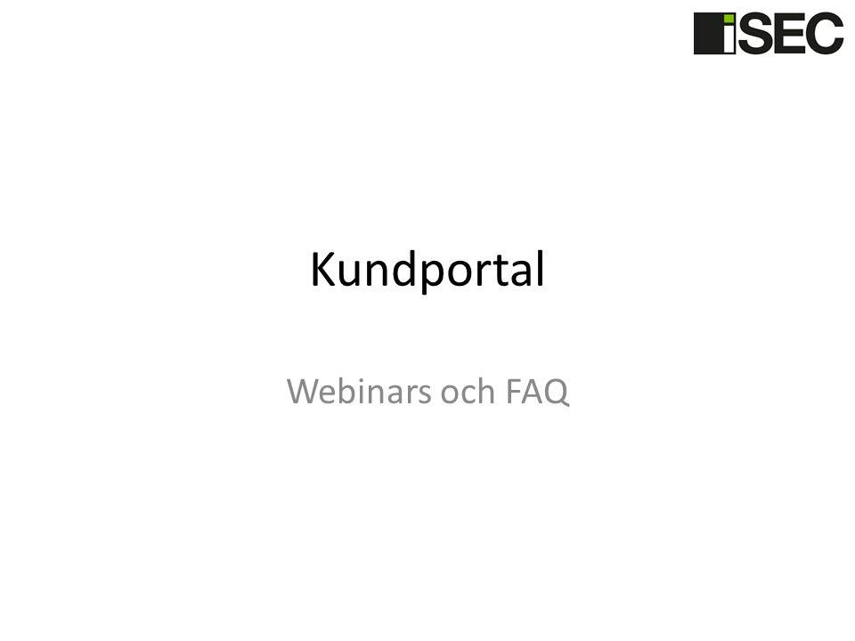 Kundportal Webinars och FAQ
