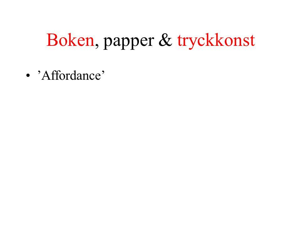Boken, papper & tryckkonst 'Affordance'