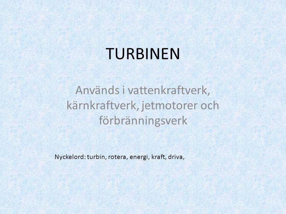 TURBINEN Används i vattenkraftverk, kärnkraftverk, jetmotorer och förbränningsverk Nyckelord: turbin, rotera, energi, kraft, driva,