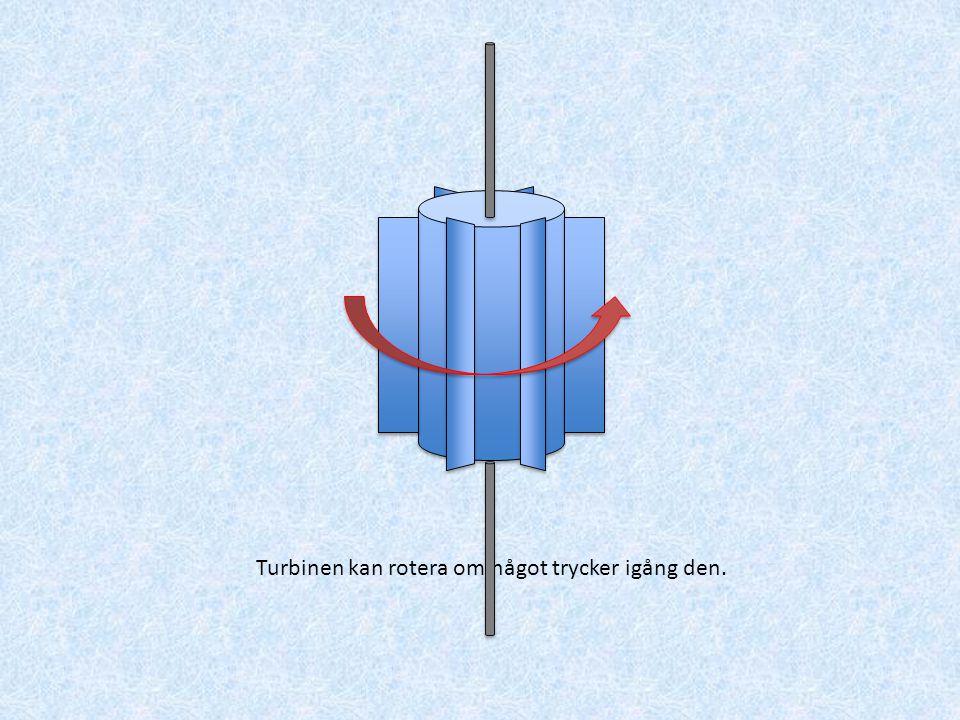 När turbinen roterar, så roterar en axel som i sin tur kan driva en generator (en generator skapar el när den roterar).