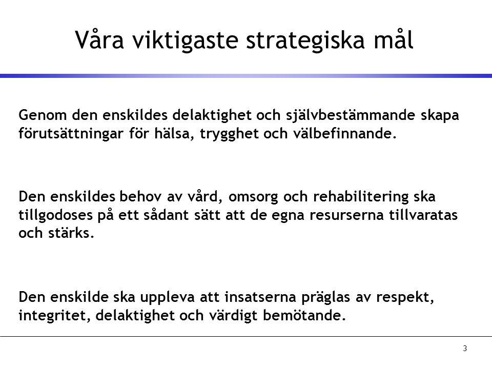 3 Våra viktigaste strategiska mål Genom den enskildes delaktighet och självbestämmande skapa förutsättningar för hälsa, trygghet och välbefinnande.