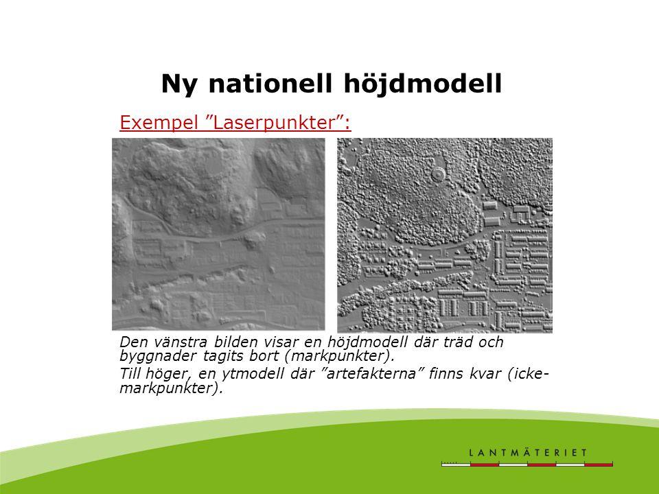 Ny nationell höjdmodell Exempel Laserpunkter : Den vänstra bilden visar en höjdmodell där träd och byggnader tagits bort (markpunkter).