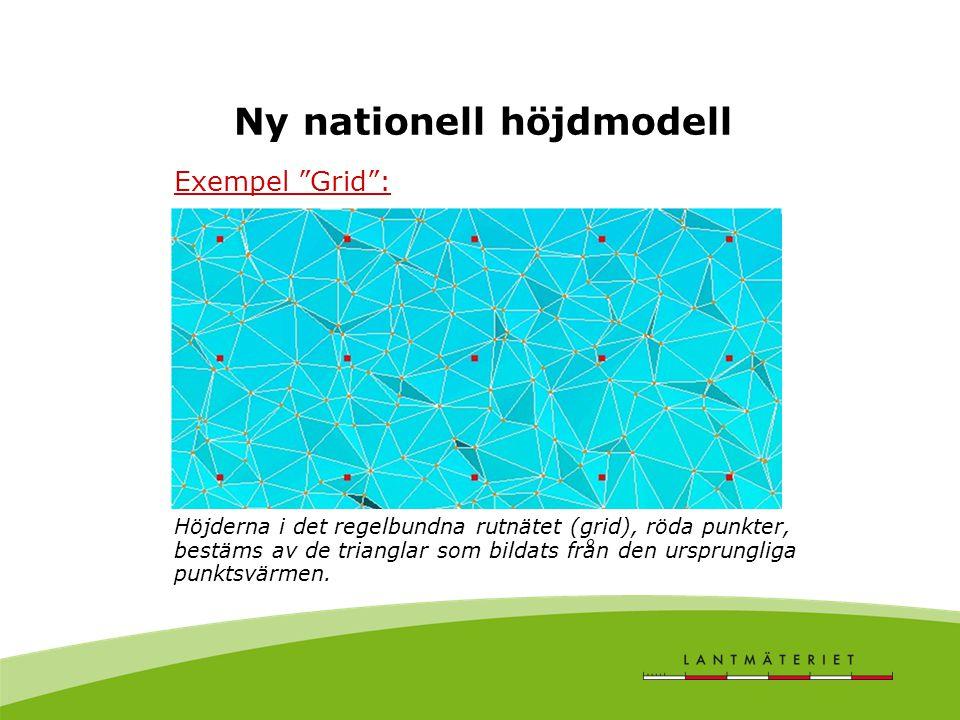 """Ny nationell höjdmodell Exempel """"Grid"""": Höjderna i det regelbundna rutnätet (grid), röda punkter, bestäms av de trianglar som bildats från den ursprun"""