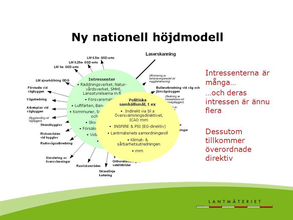 Ny nationell höjdmodell Intressenter Räddningsverket, Natur- vårdsverket, SMHI, Länsstyrelserna m fl Försvarsmakten Luftfarten, Ban- och Vägverket Kom