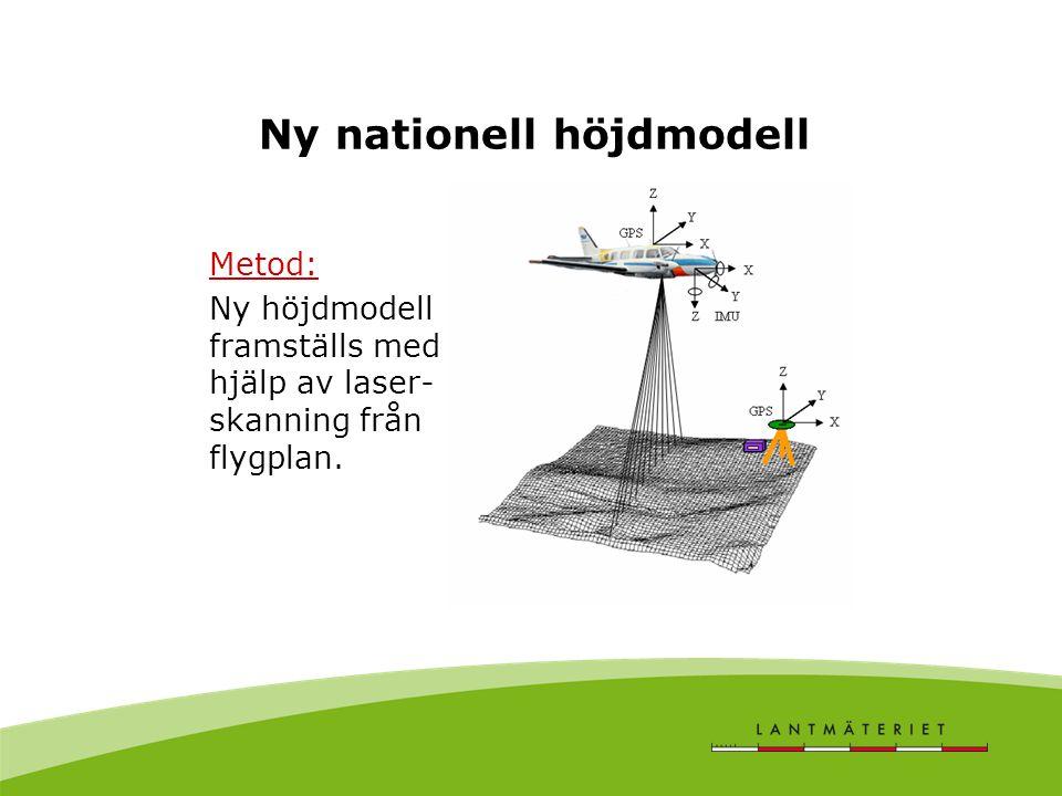 Ny nationell höjdmodell Metod: Ny höjdmodell framställs med hjälp av laser- skanning från flygplan.