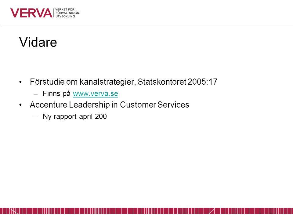 Vidare Förstudie om kanalstrategier, Statskontoret 2005:17 –Finns på www.verva.sewww.verva.se Accenture Leadership in Customer Services –Ny rapport ap