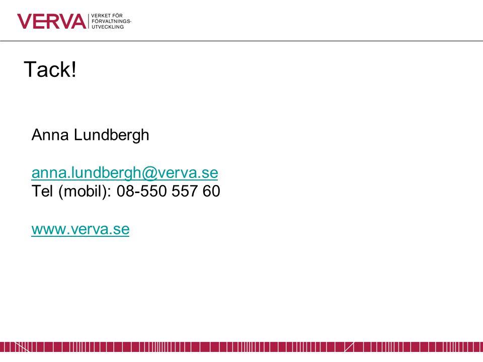 Tack! Anna Lundbergh anna.lundbergh@verva.se Tel (mobil): 08-550 557 60 www.verva.se