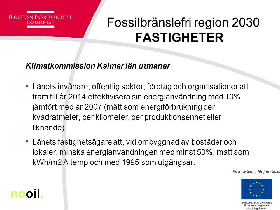Fossilbränslefri region 2030 FASTIGHETER Klimatkommission Kalmar län utmanar Länets invånare, offentlig sektor, företag och organisationer att fram till år 2014 effektivisera sin energianvändning med 10% jämfört med år 2007 (mätt som energiförbrukning per kvadratmeter, per kilometer, per produktionsenhet eller liknande).