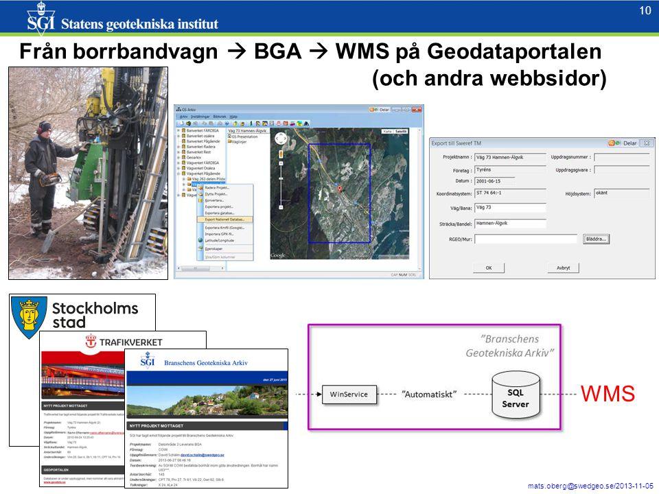 10 mats.oberg@swedgeo.se/2013-11-05 10 Från borrbandvagn  BGA  WMS på Geodataportalen (och andra webbsidor) WMS