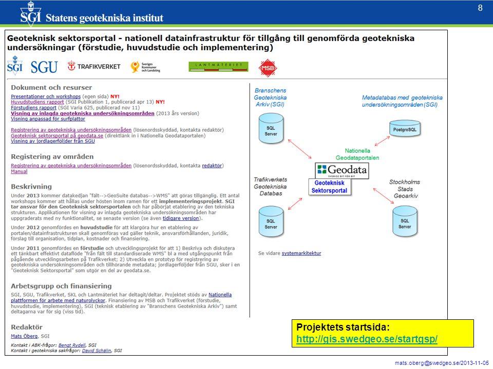 8 8 Projektets startsida: http://gis.swedgeo.se/startgsp/ http://gis.swedgeo.se/startgsp/