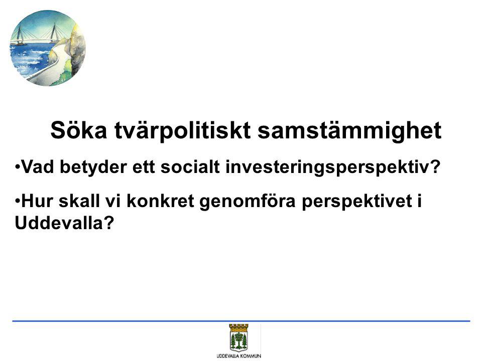 Söka tvärpolitiskt samstämmighet Vad betyder ett socialt investeringsperspektiv? Hur skall vi konkret genomföra perspektivet i Uddevalla?