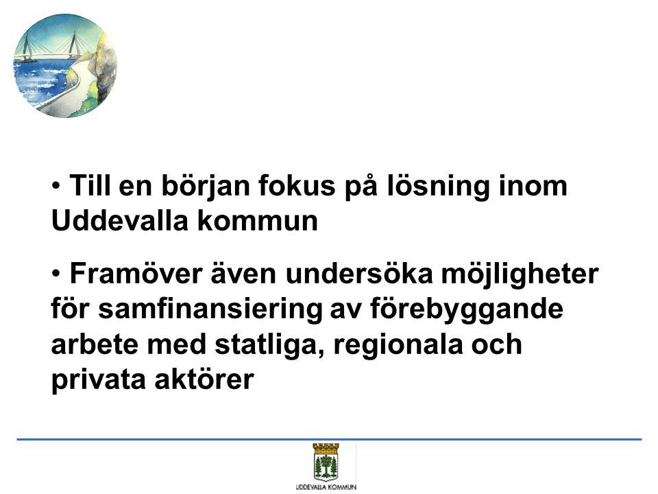 Till en början fokus på lösning inom Uddevalla kommun Framöver även undersöka möjligheter för samfinansiering av förebyggande arbete med statliga, reg