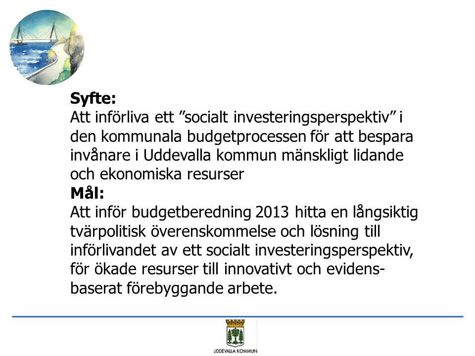 """Syfte: Att införliva ett """"socialt investeringsperspektiv"""" i den kommunala budgetprocessen för att bespara invånare i Uddevalla kommun mänskligt lidand"""