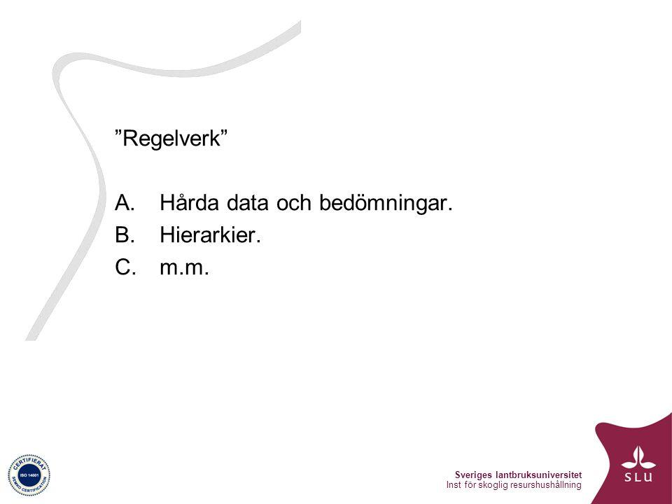 Sveriges lantbruksuniversitet Inst för skoglig resurshushållning Regelverk A.Hårda data och bedömningar.
