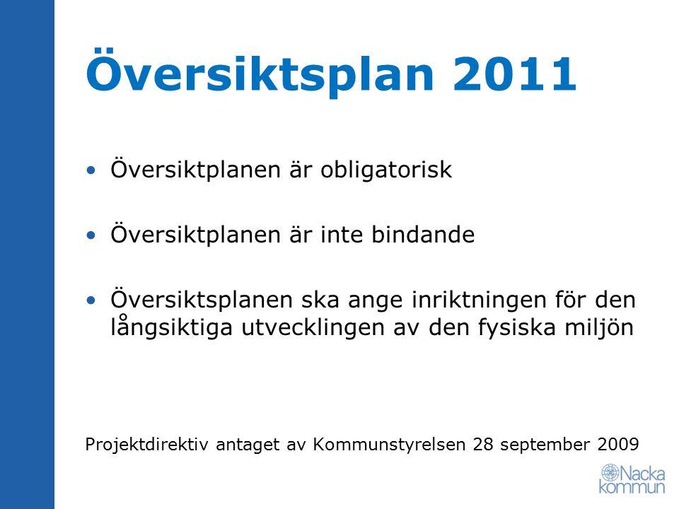 Översiktsplan 2011 Översiktplanen är obligatorisk Översiktplanen är inte bindande Översiktsplanen ska ange inriktningen för den långsiktiga utvecklingen av den fysiska miljön Projektdirektiv antaget av Kommunstyrelsen 28 september 2009