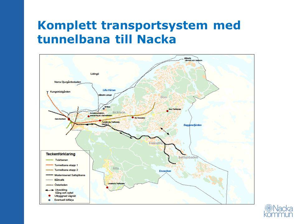 Komplett transportsystem med tunnelbana till Nacka