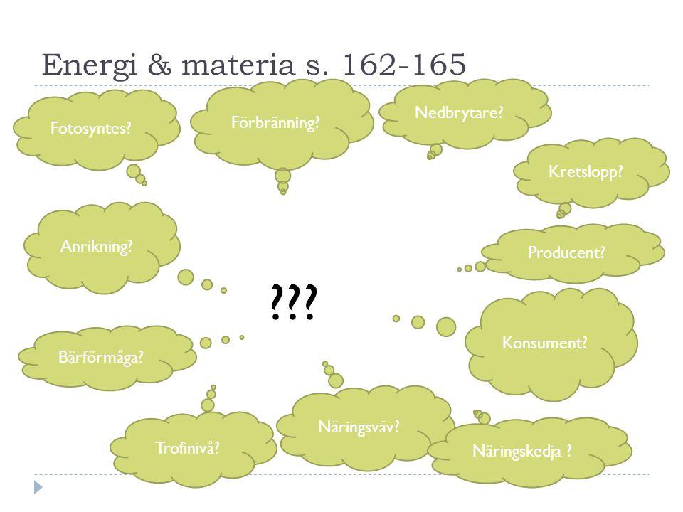 Energi & materia s.162-165 Kretslopp. Förbränning.