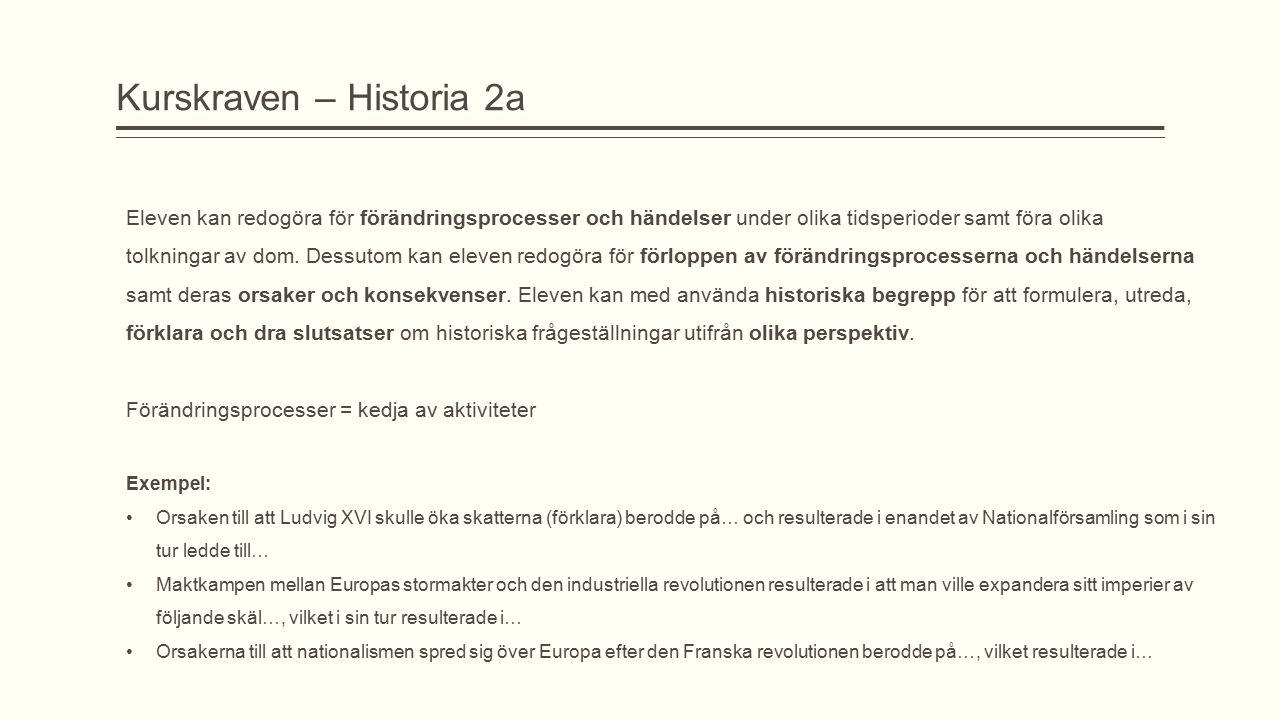 Kurskraven – Historia 2a Eleven kan redogöra för förändringsprocesser och händelser under olika tidsperioder samt föra olika tolkningar av dom. Dessut