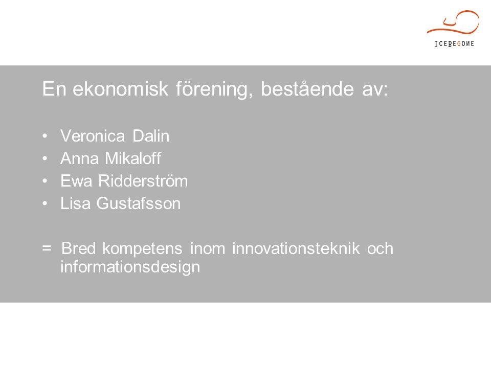En ekonomisk förening, bestående av: Veronica Dalin Anna Mikaloff Ewa Ridderström Lisa Gustafsson = Bred kompetens inom innovationsteknik och informationsdesign