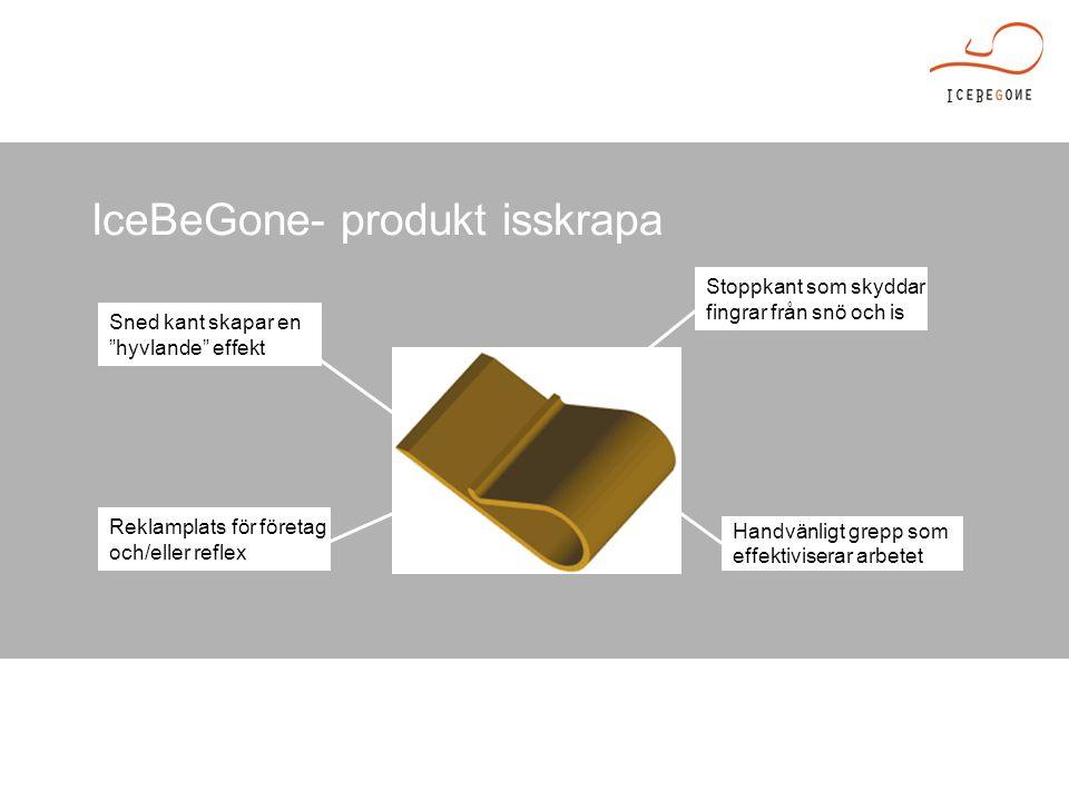 IceBeGone- produkt isskrapa Sned kant skapar en hyvlande effekt Reklamplats för företag och/eller reflex Handvänligt grepp som effektiviserar arbetet Stoppkant som skyddar fingrar från snö och is
