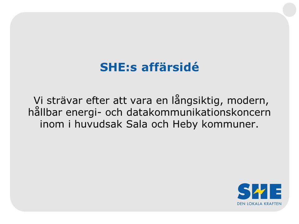 SHE:s affärsidé Vi strävar efter att vara en långsiktig, modern, hållbar energi- och datakommunikationskoncern inom i huvudsak Sala och Heby kommuner.
