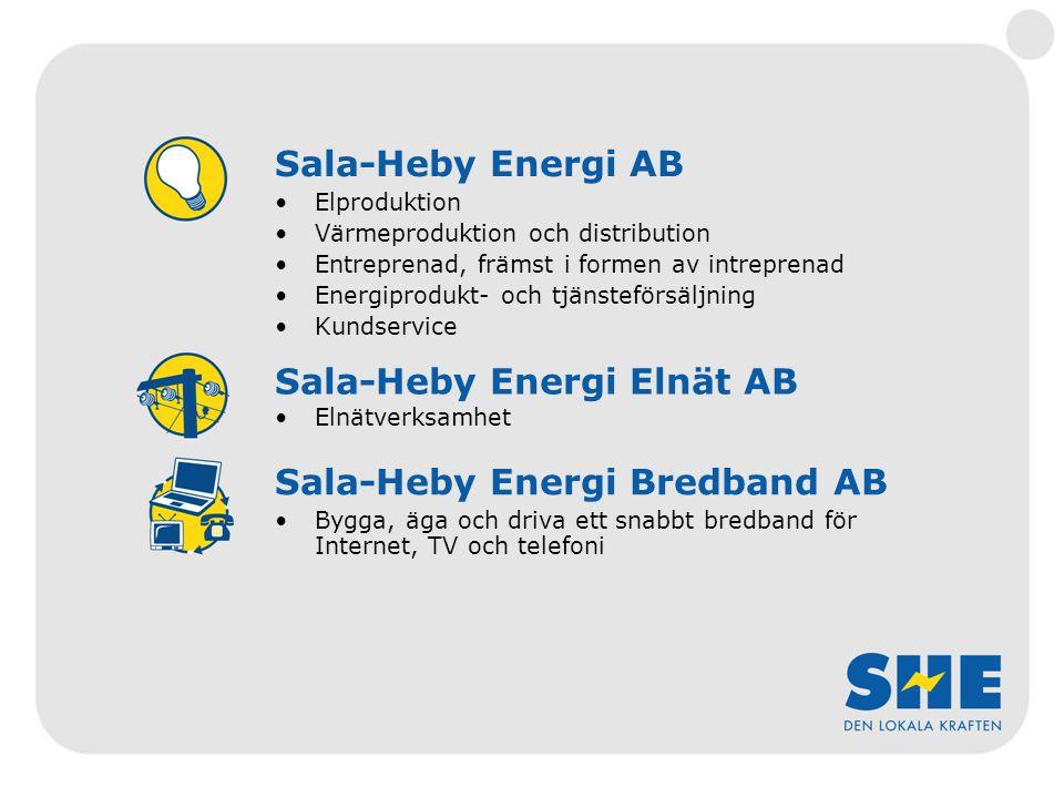Sala-Heby Energi AB Elproduktion Värmeproduktion och distribution Entreprenad, främst i formen av intreprenad Energiprodukt- och tjänsteförsäljning Kundservice Sala-Heby Energi Elnät AB Elnätverksamhet Sala-Heby Energi Bredband AB Bygga, äga och driva ett snabbt bredband för Internet, TV och telefoni