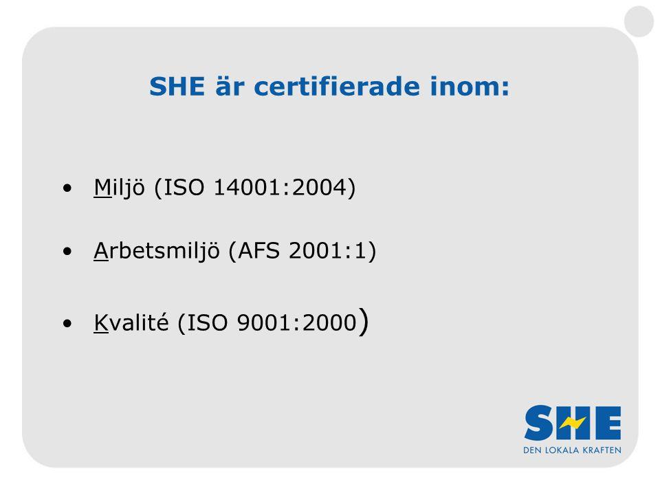 SHE är certifierade inom: Miljö (ISO 14001:2004) Arbetsmiljö (AFS 2001:1) Kvalité (ISO 9001:2000 )