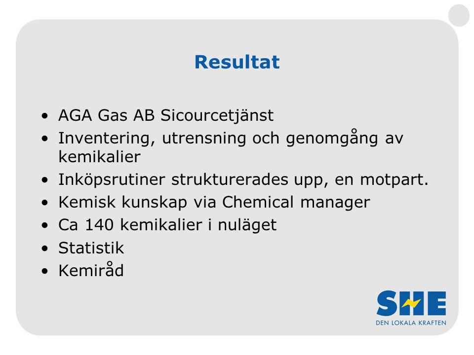 Resultat AGA Gas AB Sicourcetjänst Inventering, utrensning och genomgång av kemikalier Inköpsrutiner strukturerades upp, en motpart.