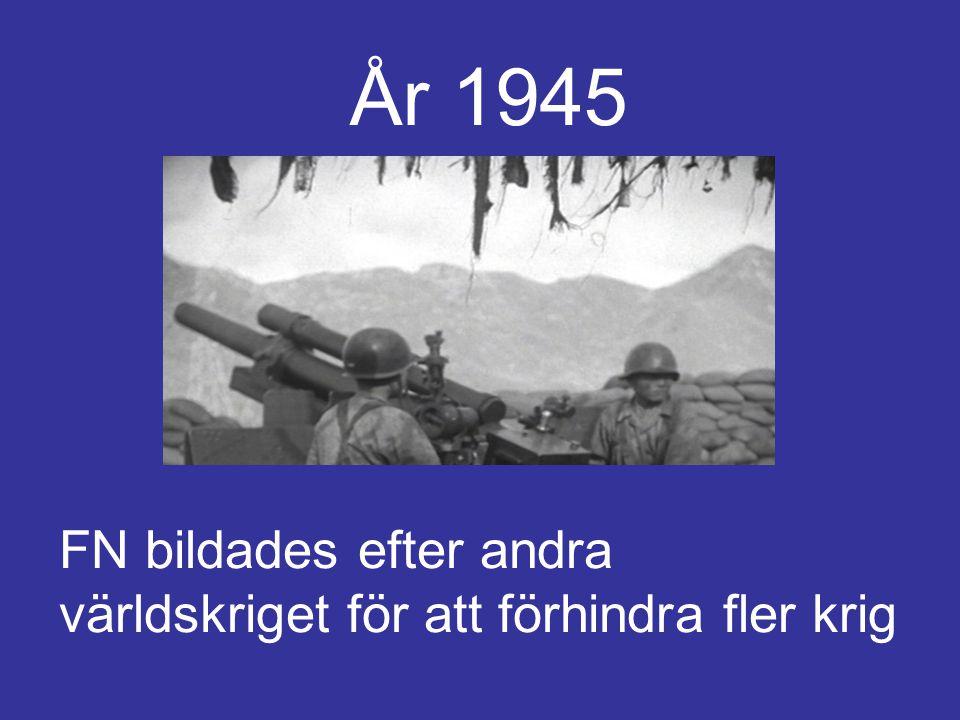 År 1945 FN bildades efter andra världskriget för att förhindra fler krig