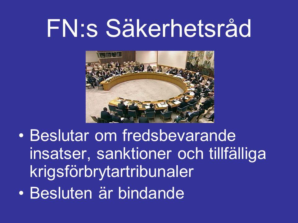 FN:s Säkerhetsråd Fem länder är permanenta medlemmar. De andra 10 väljs in av Generalförsamlingen