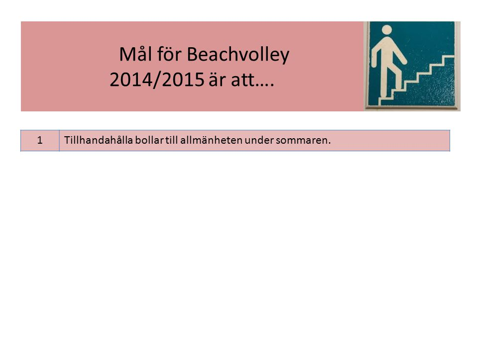 1Tillhandahålla bollar till allmänheten under sommaren. Mål för Beachvolley 2014/2015 är att….