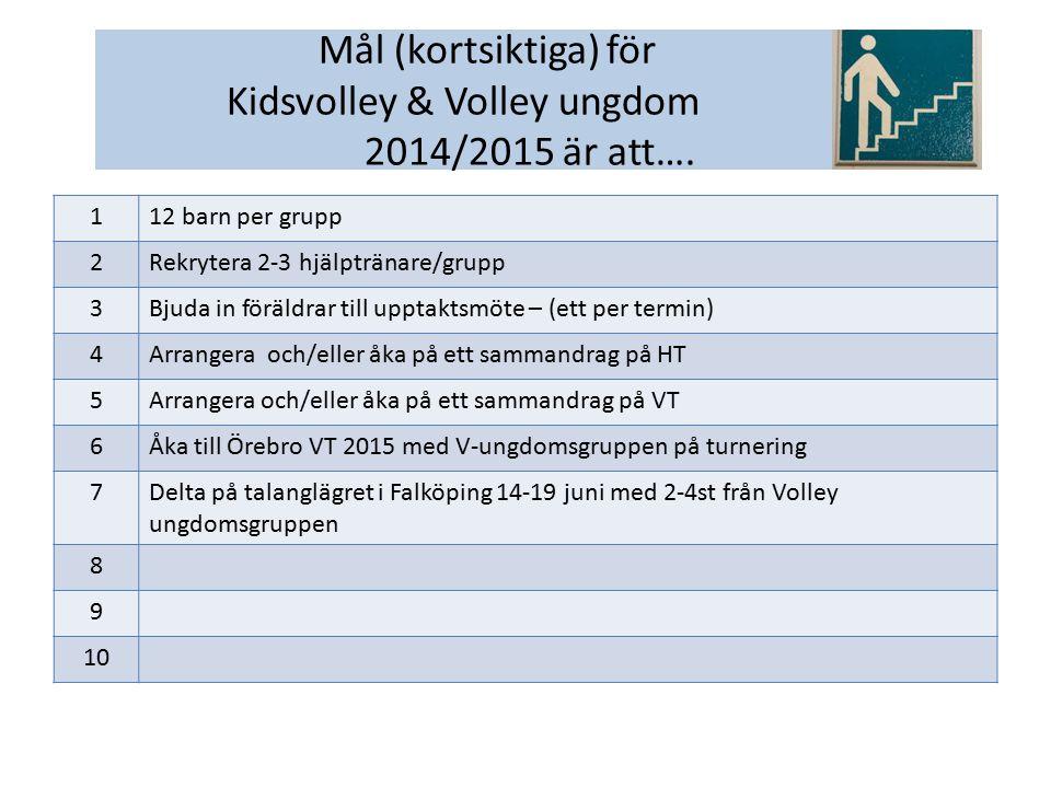 112 barn per grupp 2Rekrytera 2-3 hjälptränare/grupp 3Bjuda in föräldrar till upptaktsmöte – (ett per termin) 4Arrangera och/eller åka på ett sammandrag på HT 5Arrangera och/eller åka på ett sammandrag på VT 6Åka till Örebro VT 2015 med V-ungdomsgruppen på turnering 7Delta på talanglägret i Falköping 14-19 juni med 2-4st från Volley ungdomsgruppen 8 9 10 Mål (kortsiktiga) för Kidsvolley & Volley ungdom 2014/2015 är att….