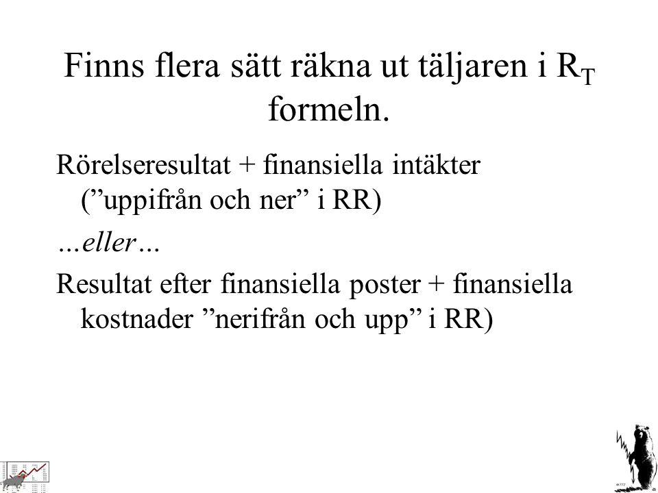 """Finns flera sätt räkna ut täljaren i R T formeln. Rörelseresultat + finansiella intäkter (""""uppifrån och ner"""" i RR) …eller… Resultat efter finansiella"""